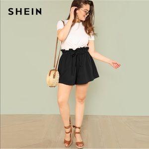 Shein black elastic waist paper bag style shorts